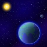Earth, moon and sun stock illustration