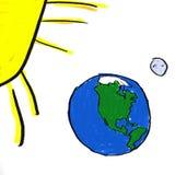 Earth Moon Sun royalty free illustration