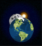 Earth Moon and Sun Royalty Free Stock Photos