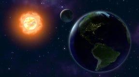 EARTH MOON SUN. Earth and the moon orbiting the sun Stock Photos