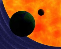Earth Moon Sun Painting Royalty Free Stock Image