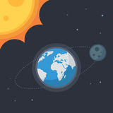 Earth with moon and sun. Stars. Concept Vector space banner icons for online  web design or print Stock Photo
