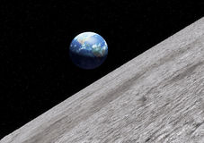 Earth moon surface. The surface of the Earth moon in 3d. Realistic artist impression Stock Photo