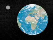 Earth and moon - 3D render Royalty Free Stock Images