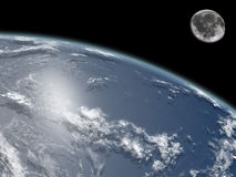 Earth and Moon stock illustration