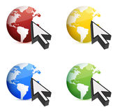 Earth and mouse cursor Stock Photos