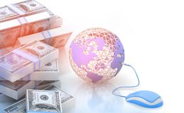 Earth and mouse with dollar Royalty Free Stock Photography