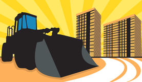 Earth mover. Illustration of a earth mover using in construction site near buildings Stock Photography