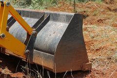 Earth mover clearing forest Stock Photos