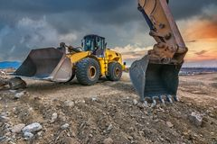 Earth moving by a bulldozer in the construction of a road in Spain stock photos
