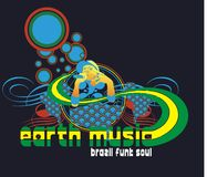 Earth music. The female singer graphic say funky music brazil vector illustration