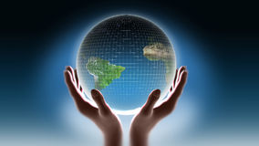 Earth in my hands. Earth in man's hands on dark blue background royalty free illustration