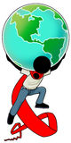 Earth on my shoulder. Cartoon action icon of a silhouette man carrying the earth on his shoulder Royalty Free Stock Photo