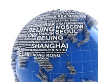 Earth with names of major cities in the world Stock Photo