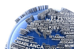 Earth with names of major cities in the world Stock Image
