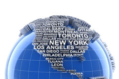 Earth with names of major cities in the world Stock Photos