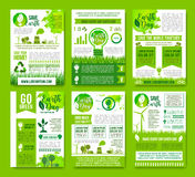 Earth nature vector ecology infographics brochure. Save Earth vector infographics brochures. Natural sources consumption and green energy use for environment stock illustration