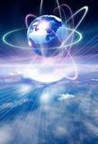 Earth and nebular. Illustration drawing of beautiful blue earth and nebular Stock Image