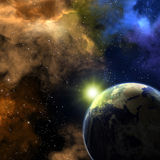 Earth and nebulas Royalty Free Stock Photos