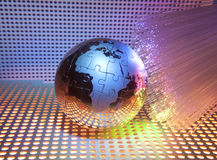 earth with network against fiber optic Stock Images
