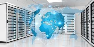 Earth network flying over server room data center 3D rendering Royalty Free Stock Image