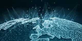 Earth network interface 3D rendering Stock Photo
