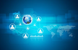 Earth and network with people icons Stock Photo
