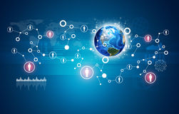 Earth, network with people icons and graphs Royalty Free Stock Photos