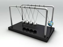 The Earth in Newton's Cradle Stock Photography
