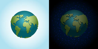 Earth night and day set. Nighttime Planet in space. Lot of stars Stock Photography