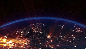 Earth night. Europe. Earth night three-dimensional animation with futuristic lights of the citys