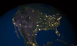 Earth at night over USA Royalty Free Stock Photo