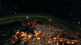 Earth at night. Planet earth at night with space background stock footage