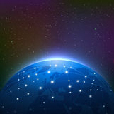 Earth at Night Among Starry Sky is Surrounded by a Luminous Netw Stock Photo
