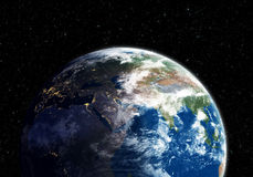 Earth at night transiting to day (Nasa map) Stock Photos