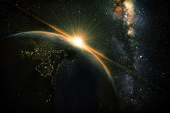 Earth night. Unrise view of earth from space with milky way galaxy Stock Photography