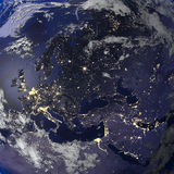 Earth night view from space 3d rendering. Royalty Free Stock Photography