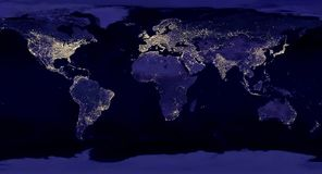Earth night view from space map with city lights satellite-based observations. `Elements of this image furnished by NASA