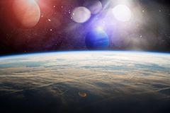 Earth Observation.The view of space from the earth . Panets, stars and galaxies . Elements furnished by NASA. Planets, stars and galaxies in outer space showing Royalty Free Stock Image