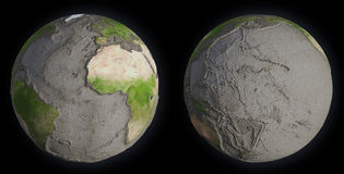 Earth without oceans Stock Image