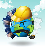 Earth with office buildings Royalty Free Stock Images