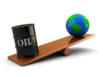 Earth and oil. 3d illustration of earth and oil barrel on scale board Royalty Free Stock Images