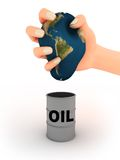 Earth and oil. Abstract illustration of earth in the hand and oil barrel Royalty Free Stock Photography