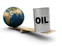 Earth and oil. Earth globe and oil barrel on scale Royalty Free Stock Photography