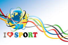 Earth with Olympic rings and Olympic tapes. Planet Earth with the Olympic rings around and ribbons with the Olympic colors.The phrase I love sport. Wallpaper for Stock Photography