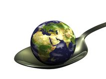 Earth On Spoon Stock Images