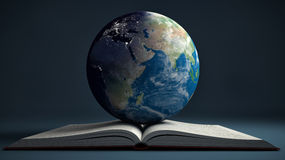 Earth and open book. Education internet e-learning concept Royalty Free Stock Photos