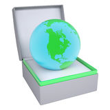 Earth in open gift box Royalty Free Stock Photography