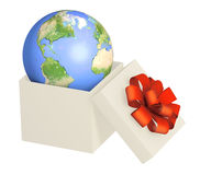 Earth in opened gift Royalty Free Stock Image