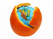 Earth in an orange Stock Photos